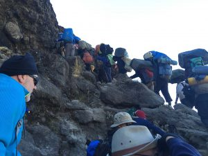 Climbing the Barranco Wall.