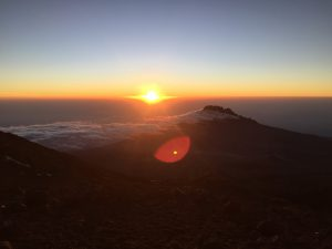 The sunrise on summit morning.